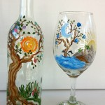 Tree of Life Wine Bottle & Glass