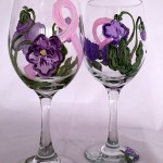 Pink Ribbon Wine Glasses with Pansies