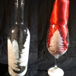 White Christmas Wine Bottle & Glass